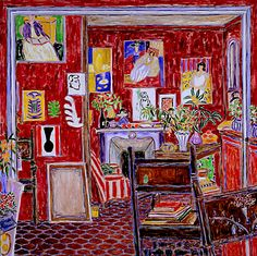 Matisses' red studio.this is my very favorite,I keep a simple red silk velvet cushion on my chair .