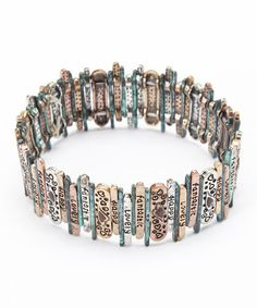 Take a look at this Turquoise & Copper Engraved Stretch Bracelet by Mica on #zulily today!