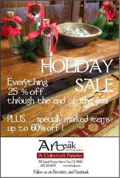 Big Holiday Sale at Arteak.  25% off everything!