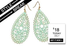 #STYLE #BREAK! Get the #Veronica #Earrings for $18. Today only!