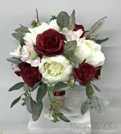 Excited to share the latest addition to my #etsy shop: DIY Bouquet in a box - Cream peonies, burgundy roses, blush alstroemerias and seeded eucalyptus made special for you, by you! You get all floral materials needed to make this bouquet, stemmed, trimmed and ready to go! Perfect for the DIY bride or makes a great gift for the bride! #bridalbouquet #weddingbouquet #bouquet #silk #wedding #supplies #burgundy #blush #DIY #DIYweddingbouquet #peony #rose #seededeucalyptus