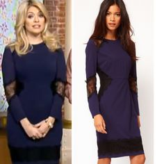Where was Holly Willoughby's navy and lace dress from on This Morning 03/02/14? - Style on Screen
