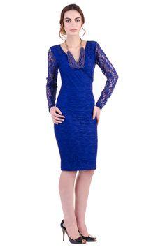 Rochie Nora din Dantela Albastra – Karla.Club Pumps Nude, Club, Formal Dresses, Fashion, Moda, Formal Gowns, La Mode, Black Tie Dresses, Fasion