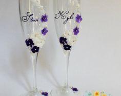 Gafas de champán personalizada de boda en por ArtsLux en Etsy