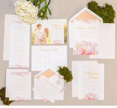 Blush Romance Wedding Invitation Suite - Romantic floral wedding set - spring wedding invitation collection - Deposit to begin order on Etsy, $114.94 AUD