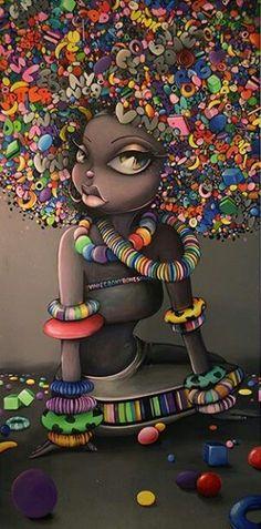 Graffiti art , street art , Urban art art Life style by urbanNYCdesigns Black Love Art, Black Girl Art, Art Girl, Black Girls, African American Art, African Art, Street Art, Natural Hair Art, Art Africain