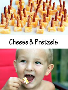 Cheese cubes with pretzels stuck in them. Children would love to make cheese and pretzels for themselves as a snack. It's a great way to introduce food preparation in a very simply and clean manner.