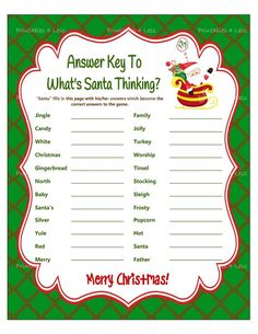 Christmas Game Whats Santa Thinking Christmas Word Game Finish My Phrase Christmas Party Game Holiday Party Game Printables 4 Less Christmas printables Tween Party Games, Holiday Party Games, Xmas Party, Holiday Parties, Holiday Fun, Office Party Games, Sleepover Games, Nye Party, Christmas Words