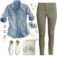 Olive pants, denim shirt, all stars. Outfits With Converse, Jean Outfits, Casual Outfits, Cute Outfits, Converse Sneakers, Outfits With Green Jeans, Chucks Outfit, Olive Green Pants Outfit, Army Green Pants