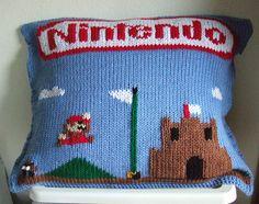 Duplicate stitch Super Mario pillow