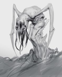 Anthony Jones is a concept artist and illustrator working in the film and video game industry. He has worked for companies such as Blizzard Entertainment… Creepy Drawings, Creepy Sketches, Anthony Jones, Creepy Monster, Predator Alien, Dark Artwork, Macabre Art, Monster Design, Monsters