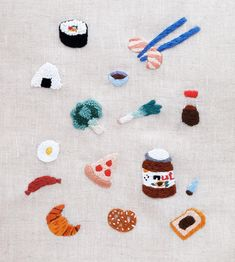 Embroidery sticker - food lover - Kuramoto May - Embroidery On Clothes, Simple Embroidery, Shirt Embroidery, Hand Embroidery Stitches, Embroidery Hoop Art, Hand Embroidery Designs, Cross Stitch Embroidery, Cute Embroidery Patterns, Indian Embroidery