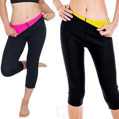 5feecbfb10a2c CROSS1946 Womens Slimming Thermo Capris Pants Sauna Hot Sweat Body Shaper  Control Small Rose M  gt