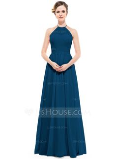 A-Line/Princess Scoop Neck Floor-Length Chiffon Bridesmaid Dress With Ruffle (007051366)