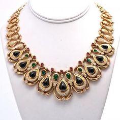 73 ct estate diamond ruby sapphire emerald 18k gold necklace
