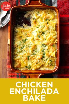 This easy Chicken Enchilada Casserole is made with red sauce, chicken, and fl. Easy Chicken Enchilada Casserole, Green Chicken Enchiladas, Enchilada Sauce, Easy Dinner Recipes, Easy Meals, Casserole Recipes, Food Dishes, Mexican Food Recipes, Parmesan