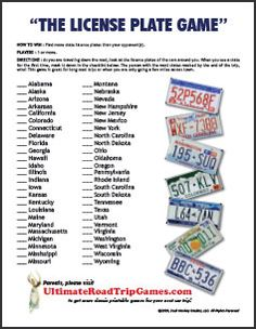 Free License Plate Game checklist style