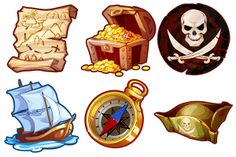 Pirates - game icons by Victoria Kosheleva, via Behance