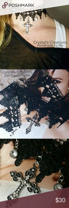 """Crystal's Creations Cross Reversible Choker Reversible! Crystal's Creations Black Lace Cross and Rhinestone Choker. Handmade by me. Lobster Claw Clasp. Approx 4"""" extender with a heart drop at the end. See picture 2. Flip it around for less bling! See picture 4. Approx 14""""  long, and 18"""" long with extender. I put a lot of Love into this one!  Enjoy! Crystal's Creations  Jewelry Necklaces"""