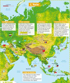 Fiche exposés : L'Asie French Government, Geography Map, Mon Quotidien, French Class, French Language, Teaching French, Learn French, School Lessons, Continents