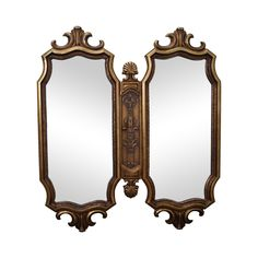 Vintage Hollywood Regency Gold Two-Piece Mirror on Chairish.com