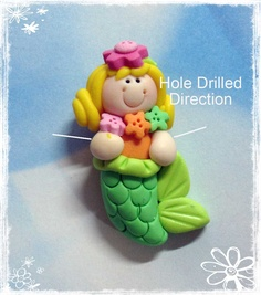 Mermaid Polymer Clay Charm Bead, Scrapbooking, Bow Center, Pendant, Cupcake topper, Magnet, Ring