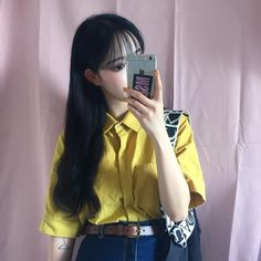 @milkybambi           ✧* · ˚ · . follow for more like this! Fc 1, Kawaii Fashion, Ulzzang Girl, Grunge Fashion, Seoul, Poses, Hair Styles, Kpop, Selfie