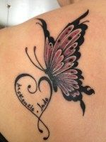 butterfly and heart name tattoo