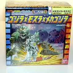"""A GREAT GIFT IDEA!From the exciting Godzilla movie """"Tokyo SOS"""" MECHAGODZILLA 2004 & TWIN MOTHRA LARVAS! These three Awesome vinyl Figurescome intheirown colorful box! The MechaGodzilla 2004 stands approx. 4 inches tall and theMothra Larvas are approx. 3 inches long. The MechaGodzilla is articulated at the waist and arms and has his CHEST OPEN SO HE CAN USE HISDEADLY LAZER SUPER WEAPON!! Made by Bandai of Japan, this Set includesTHREE FIGURES! MechaGodzilla 2004 andthe T..."""