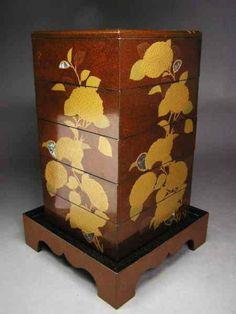 Fine Japanese Nashiji Makie Jubako Set dated Meiji 27