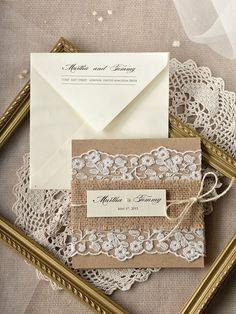 Custom listing (100) Lace Wedding Invitations,Rustic Wedding Invitations, Buralp  Wedding Invitations by forlovepolkadots on Etsy https://www.etsy.com/listing/204851156/custom-listing-100-lace-wedding