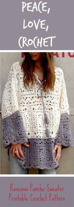 Boho Style Ravenna Poncho Sweater Crochet Pattern ~ Hippy Chic ~ crochet pattern ~ boho poncho ~ instant download ~ printable crochet pattern #affiliate #crochetpattern #bohostyle #poncho