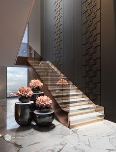 Wooden Staircase Design, Luxury Staircase, Interior Staircase, Home Stairs Design, Home Room Design, Modern Villa Design, Small House Interior Design, Bathroom Design Luxury, Luxury Kids Bedroom