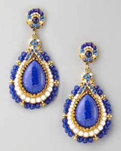 Jose & Maria Barrera Beaded Teardrop Clip Earrings, Blue - Neiman Marcus