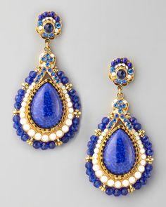 Beaded Teardrop Clip Earrings, Blue by Jose & Maria Barrera at Neiman Marcus. ~ MINE, SO WANT THEM