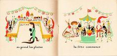 Inside spread of Bonshommes des bois published by Éiditiona des Artistes illustrated by Élisabeth Ivanovsky (1944)