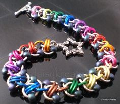 daisykreates: Chainmaille Rapid Track Bracelet in Rainbow Colors - example - I pinned a link to a tutorial for purchase earlier today