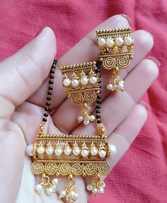 Latest Alloy Designer Mangalsutra Set from Ubig Fashion India Jewelry, Gold Jewelry, Beaded Jewelry, Jewelery, Ethnic Jewelry, Fancy Jewellery, Jewellery Earrings, Small Earrings, Handmade Jewellery