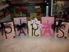 Pink chevron PARIS blocksParis decor FRENCH by JulieannasCreations, $18.00