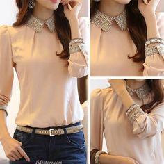Beige top with details. Collar with details. Great for office or casual. Never go out of style with this top. Pair it with braclet for a feminine look. Asian Fashion, Look Fashion, Fashion Outfits, Womens Fashion, Latest Fashion, Look Chic, Work Attire, Passion For Fashion, Beautiful Outfits