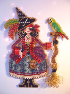 counted cross stitch kit : Polly the Pirate Witch Brooke's Books Halloween embroidery