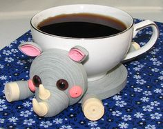 Coasters for drinks Pink Little elephant Stand for the cup Cup