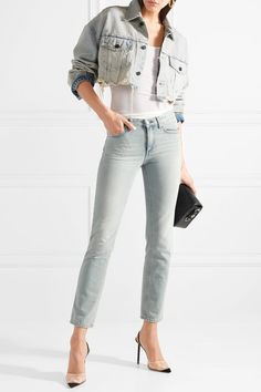 Alexander Wang | Blaze cropped distressed denim jacket | NET-A-PORTER.COM
