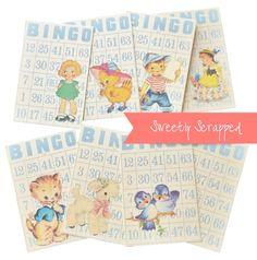 8 Spring Bingo Cards Vintage Look Children by SweetlyScrappedArt Pocket Letters, Bingo Cards, Children Images, Printable Paper, Vintage Cards, Easter Crafts, Vintage Looks, Cardmaking, Card Stock