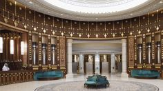 The Ritz-Carlton, Riyadh Carved wood details, colorful marble and traditional coffee service offer elegant touches to the lobby and reception area