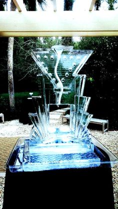 Abstract martini ice sculpture