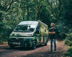 This Tiny Van Conversion is a Work of Art, Inside and Out Cool Light Fixtures, Industrial Light Fixtures, Home Cinema Speakers, Converted Bus, Van Wrap, Solar Power System, Left Alone, House On Wheels, Campervan