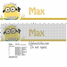 Cross stitch pattern male name Max with Despicable Me Minions characters