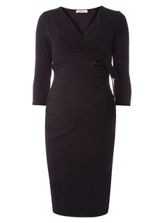 Womens **Maternity Black Self-Tie Ruched Wrap Dress- Black