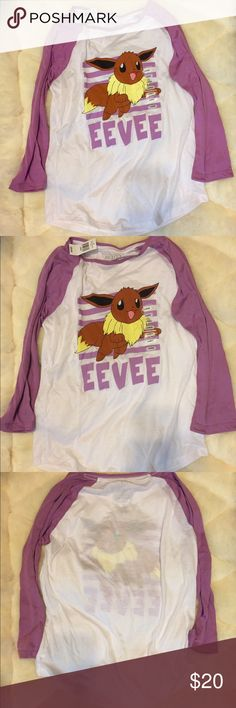 Pokémon eevee 3 quarter sleeve shirt. New New shirt. Primary colors are purple and white. Multiples sizes available, displayed is large. Not full sleeves. Eevee. Tops Tees - Long Sleeve